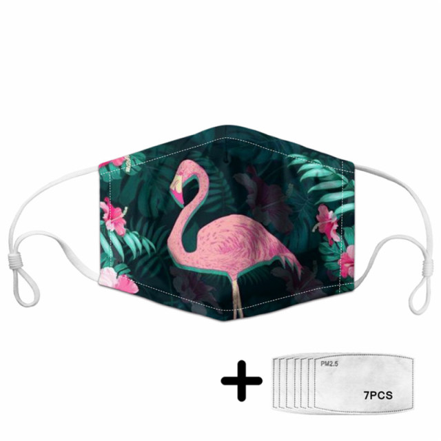 Fashion PINK FLAMINGO Hawaiian Unisex Dust Protective Mask for Adult Kids Mouth Face Mask Washable Reusable Mundschutz Maske