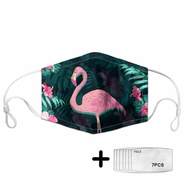 Fashion PINK FLAMINGO Hawaiian Unisex Dust Protective Mask for Adult Kids Mouth Face Mask Washable Reusable Mundschutz Maske