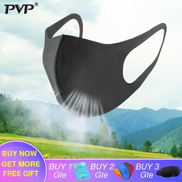 PVP 10/3Pcs Black Mouth Mask Breathable Unisex Sponge Face Mask Reusable Anti Pollution Face Shield Wind Proof Mouth anti-pollen