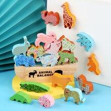 Новинка 2021, Детский конструктор, игрушка-пазл с высокой балансировкой животных, лодка, доска для раннего развития ребенка, деревянные игруш...