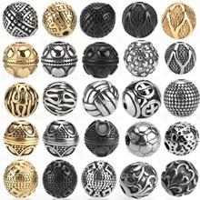 Perles pour la fabrication de bijoux, en acier inoxydable 316L, petit trou de 2mm, breloque en métal entretoise, perles rétro, fabrication de bijoux, vente en gros
