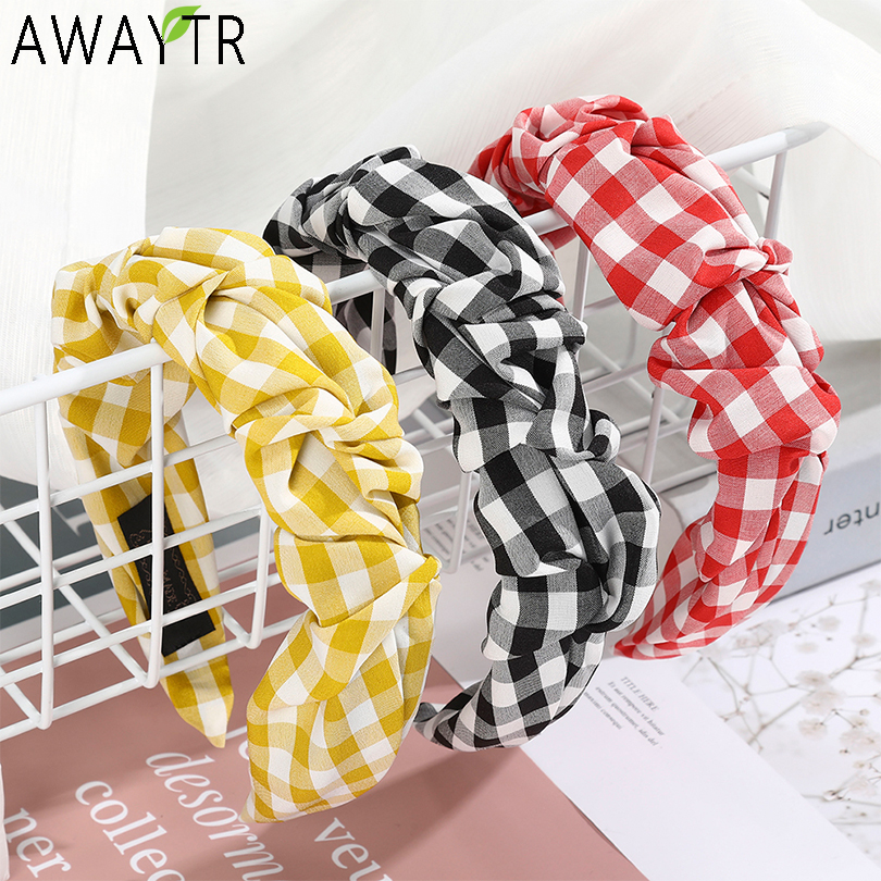 D black and white check padded slim headband  1cm wide alice band