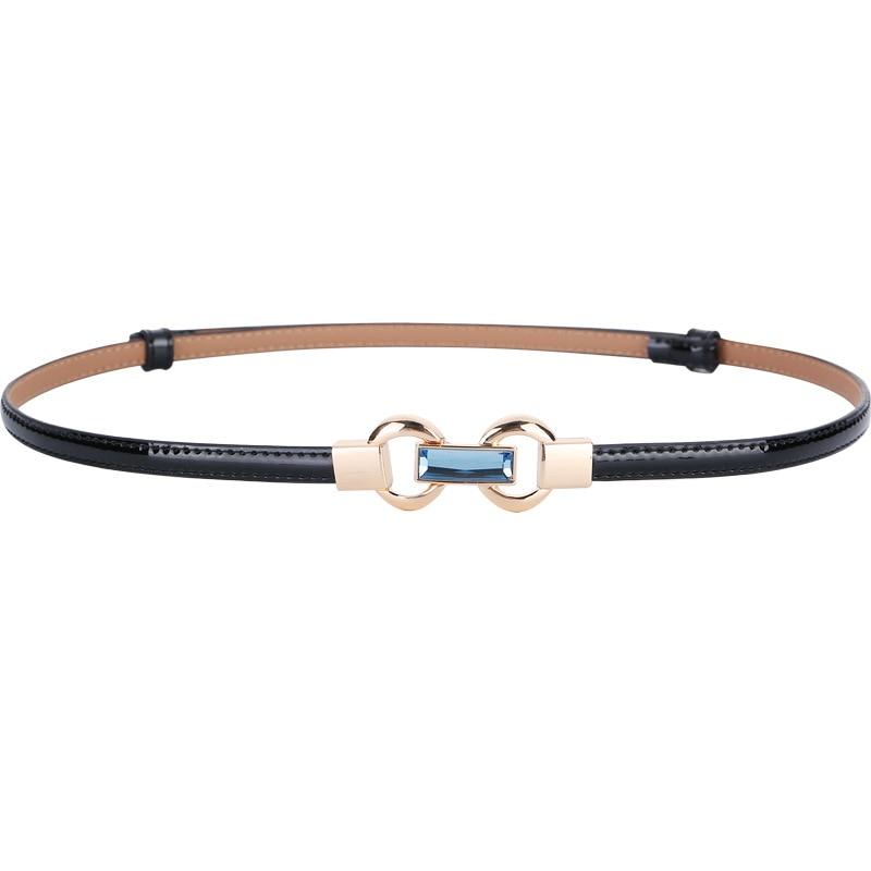 Women Thin Adjust Belts Genuine Leather Black Waistband Patent Dress Cummerbunds HOT Thin Cowhide Gold Loop Buckle Belt Femal