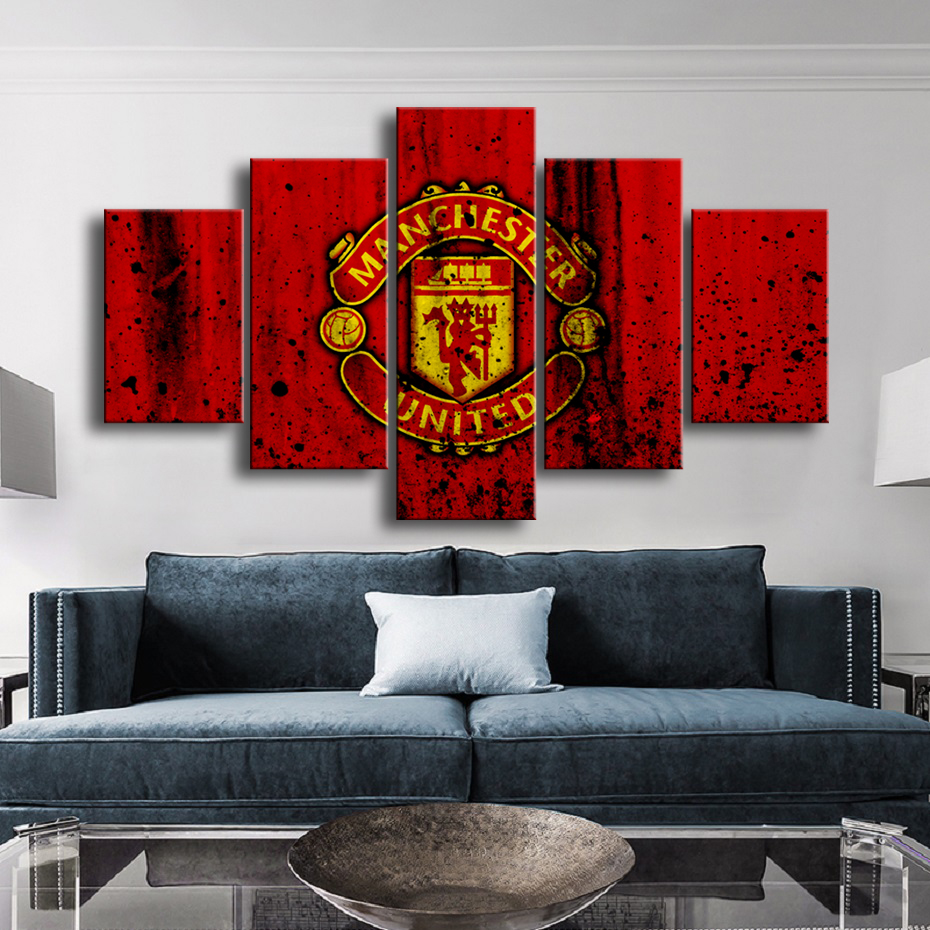 Creative 5 Pieces Manchester United Flag Sports Wall Posters Football Canvas Paintings Art Prints Pictures Boys Bedroom Decor