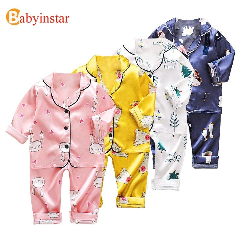 Babyinstar New Fashion Pajama Sets Toddler Baby Boys Long Sleeve Cartoon Printed Tops+Pants Pajamas Sleepwear Outfits For Girls