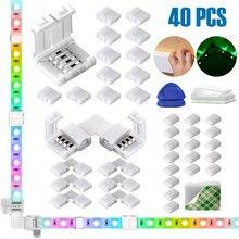 40 pacotes de 4 pinos rgb led light strip conectores 10mm tira led gapless solderless adaptador terminal extensão led strip conector