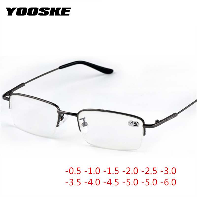 YOOSKE Finished Myopia Glasses Women Men Half Frame Fashion Sutdent Short-sight Eyewear -1.0 -1.5 -2. 0 -2.5 -3.0 -4.0 -4.5 -6.0