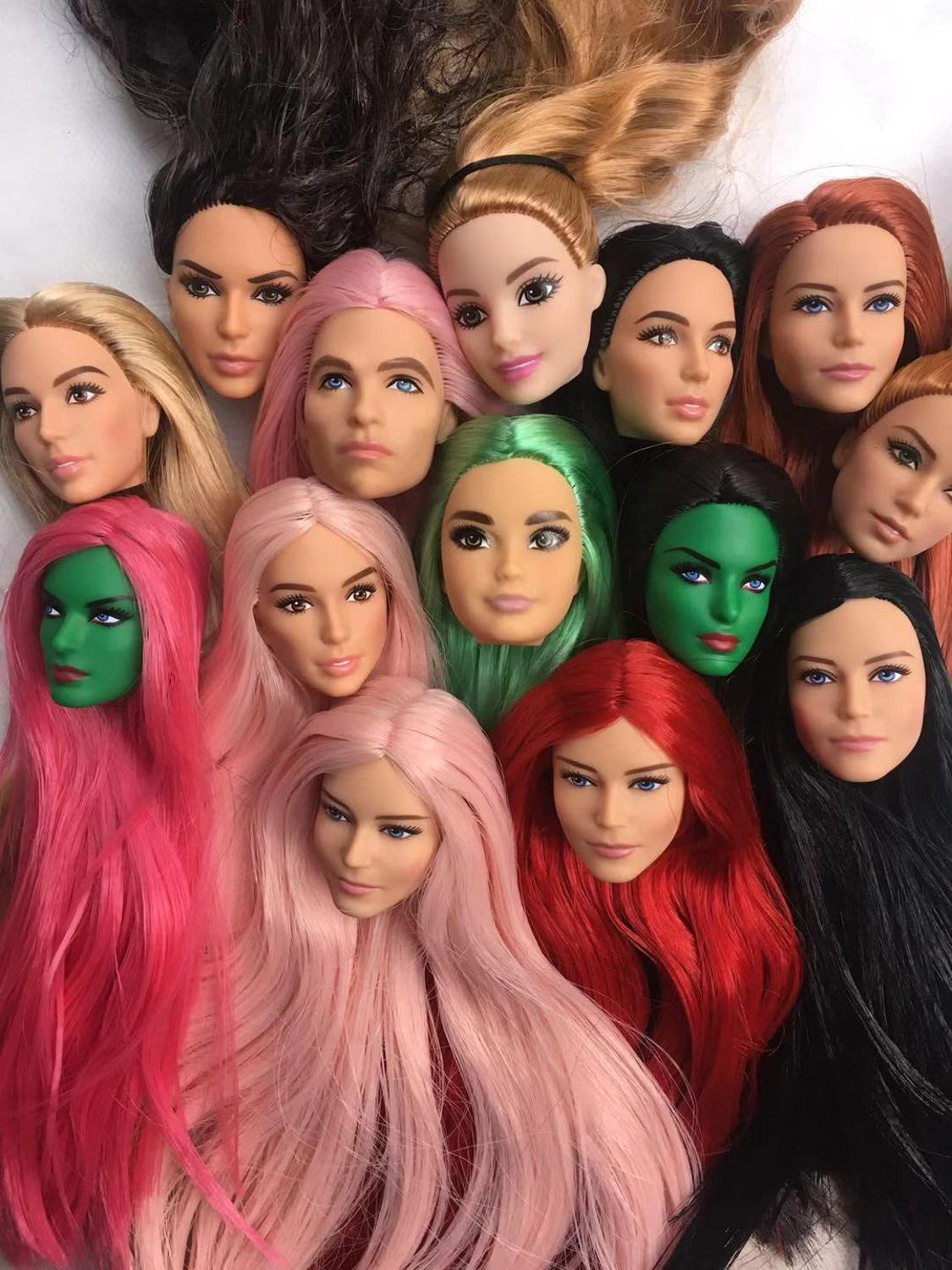 Long Soft Hair Doll Heads Wonder Lady Doll Toy Head Male Female Pink Black Green Red Hair Doll Head Parts Girl Dressing DIY Toy
