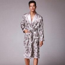 Мужчины мода принт кимоно халат осень лето лед шелк длинные халат тонкие пижамы ночной халат мужские свободные ванна халат ночное белье