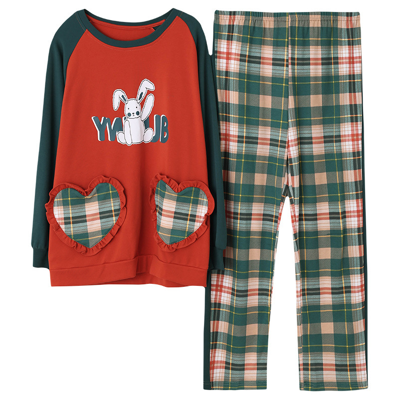 Cute Rabbit Print Pyjama Women's Cotton Long-sleeved Sweet Plaid Pants Girl Two-piece Set Spring Autumn Tracksuit New Year Gifts 29