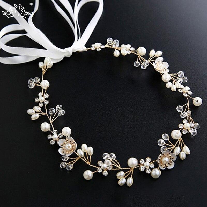 Элегантные свадебные аксессуары для волос, Хрустальный жемчуг, цветок, повязка на голову, лента, головной убор, украшения для волос, аксессу...