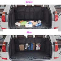 Car Rear Seat Back Trunk Storage Bag Multi Hanging Nets Pocket Trunk Bag Organizer Auto Stowing Tidying Interior Supplies