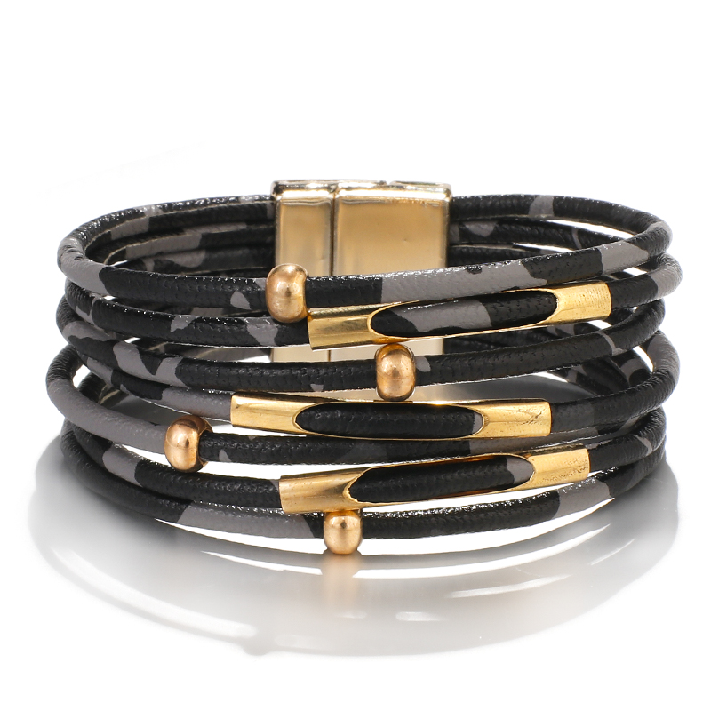 H40fb99fb297349bbb19a0babd586352aP - Amorcome Leopard Leather Bracelets for Women Fashion Bracelets & Bangles Elegant Multilayer Wide Wrap Bracelet Jewelry