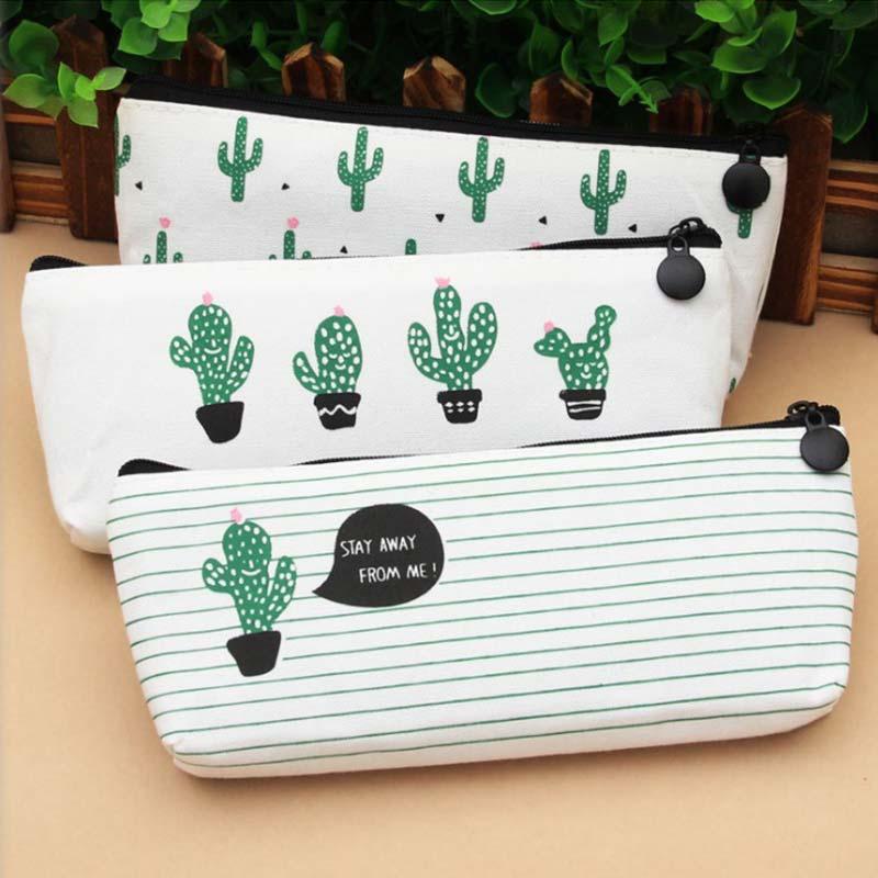 Storage Bag Kawaii Zipper Stationery School Canvas Case Pencil Pen Bags Pencil Box Supplies Cactus Coin Purse For Girls