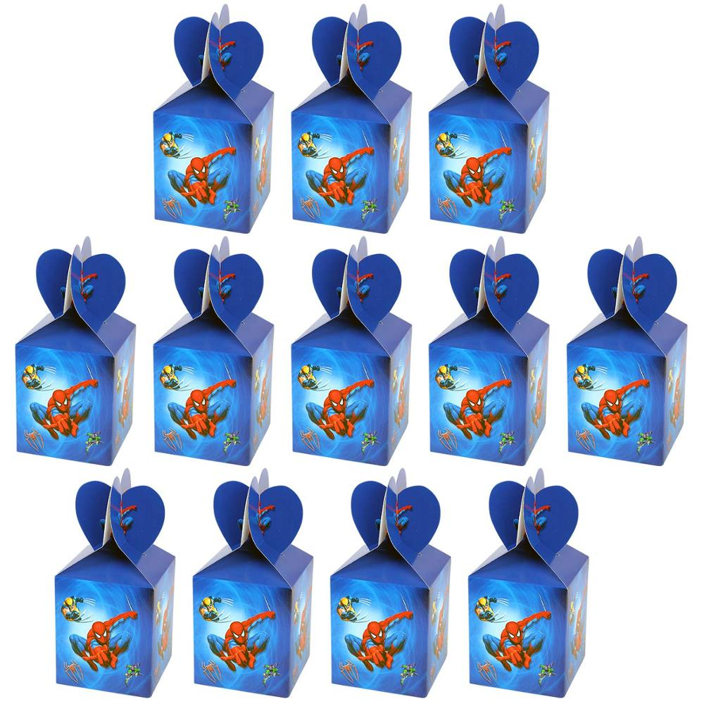 Cartoon Superhero Spiderman Theme Party Supplies Gift Candy Box Favor Baby Shower Accessory Kids Boys Birthday Party Decoration