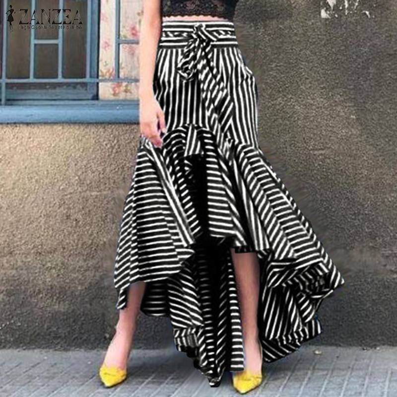 Fashion Striped Skirts Women's Printed Ruffle Vestidos ZANZEA 2020 Casual Asymmetrical Maxi Skirts Female Summer Faldas Saia