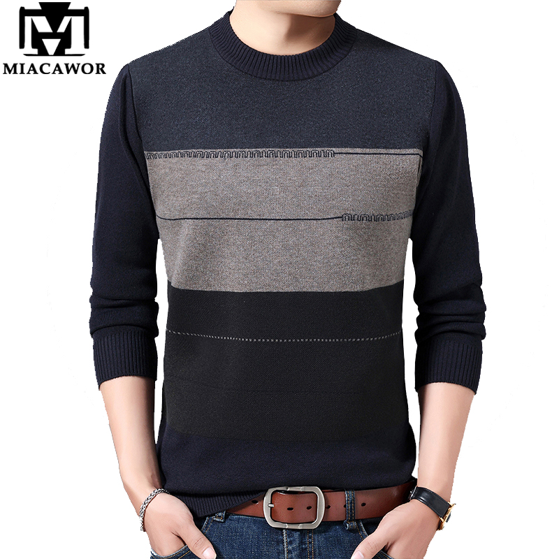 MIACAWOR Autumn Winter Warm Wool Sweater Men Patchwork Pullover Men Knitted Sweaters O-Neck Pull Homme Plus Size 4XL Y175