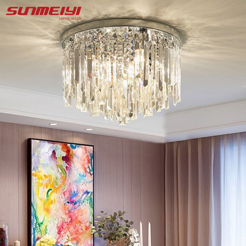 Modern Crystal Ceiling Lights Led Corridor Lighting Ceiling Lamp For Living room Kitchen Gold Bed Room Light lampara led techo modern corridor mirror crystal ceiling lamp aisle veranda lighting down surface mounted led ceiling lights lampara de techo