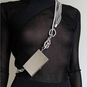 Multifunctional Metal Multi-layer Chain Card Holder Mini Minimalist Diamond Women Shoulder Crossbody Bags Purse Sac A Main Femme