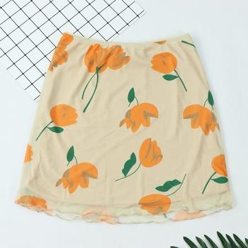 цены Fashion Pencil Skirts 2020 Elegant Tulip Print Women A line Skirt Vintage Mesh women mini Elastic waistline skirt za