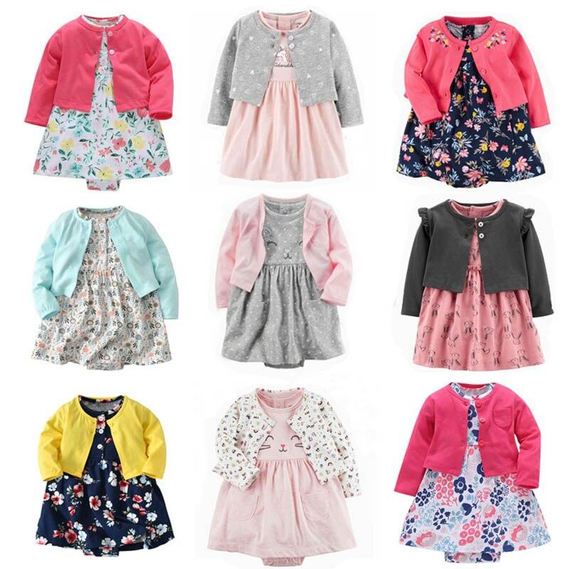 Комбинезон для новорожденных девочек, комбинезон из 100% хлопка с милыми животными, комплект одежды для маленьких девочек с цветочным принто...