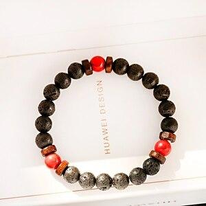 Image 3 - Классические браслеты из черной лавы и Красного камня, мужские молитвенные аксессуары для медитации, женские Украшения для йоги, Прямая поставка