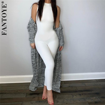 FANTOYE Sexy Skinny White Jumpsuit For Women Sleeveless Bodycon Overalls Casual Streetwear New Fitness Romper Body Mujer Elastic