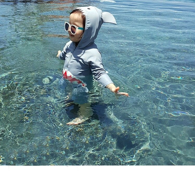 New Products Korean-style BOY'S Girls Baby Shark One-piece Sun-resistant UV-Protection Bathing Suit Baby Model Clothing
