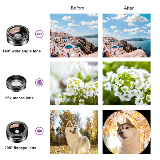 APEXEL New 6in1 Kit Camera Lens Photographer Mobile Phone Lenses Kit Macro Wide Angle Fish Eye CPL Filter For iphone Xiaomi mi9 4
