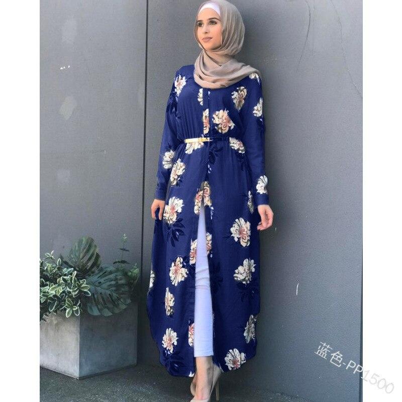 Women floral printed belted robe long Sleeve maxi Dress plus size Eid Ramadan kaftan gown Islamic muslim abaya Jubah Djellaba Women Women's Abaya Women's Clothings cb5feb1b7314637725a2e7: black|Blue|gray|Red
