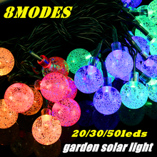 20/30/50 LEDs 8Modes Outdoor String Lights Solar Fairy Lights Christmas Decoration Garland Holiday Crystal Ball LED Solar Lamp