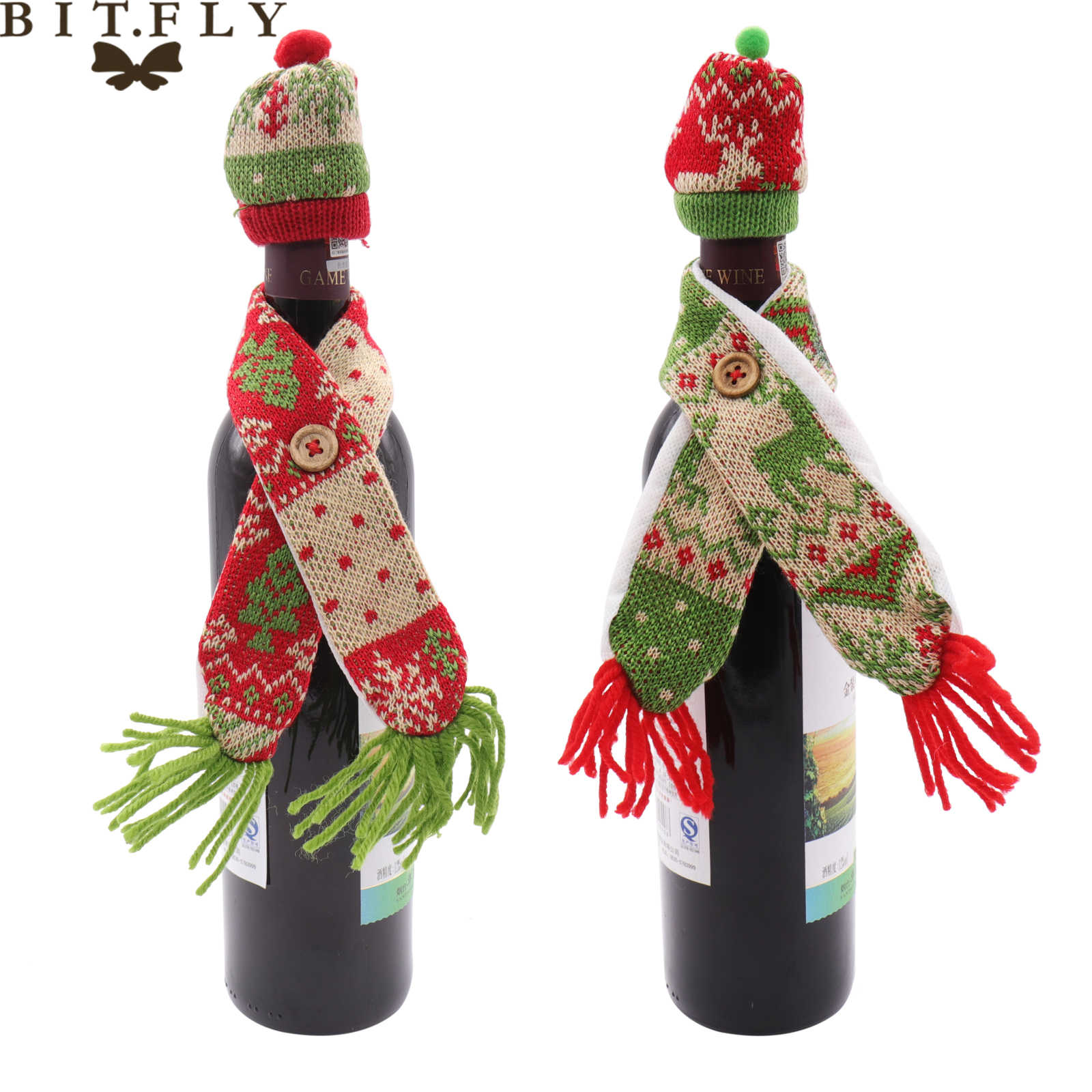 BIT. FLY Diy คริสต์มาสตกแต่งสำหรับขวดไวน์ฝาครอบหมวกผ้าพันคอเกล็ดหิมะเทศกาล noel ใหม่ปีตาราง Home Decor