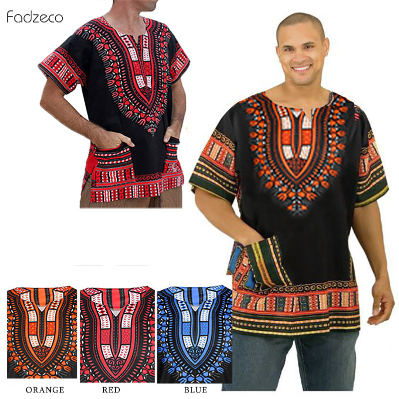 Fadzeco Dashiki African Men's Clothes 2019 Summer New T-Shirt Top Traditional Ethnic Printting Tops African Men Clothing S-2XL