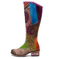 Brand Fashion Retro Genuine Leather Women's Boots Bohemian Style Knee high Long Boots Women Shoes Woman Zipper Western Booties