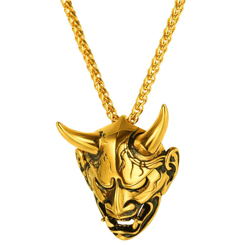 4 Style Gothic Horn Evil Devil Demon Skull Pendant Necklace Stainless Steel The Eyes Of Horus Hip Hop Necklace Jewelry For Men(China)