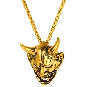 Мужской кулон в 4 стилях, готический кулон в виде черепа дьявола, из нержавеющей стали, в стиле хип-хоп