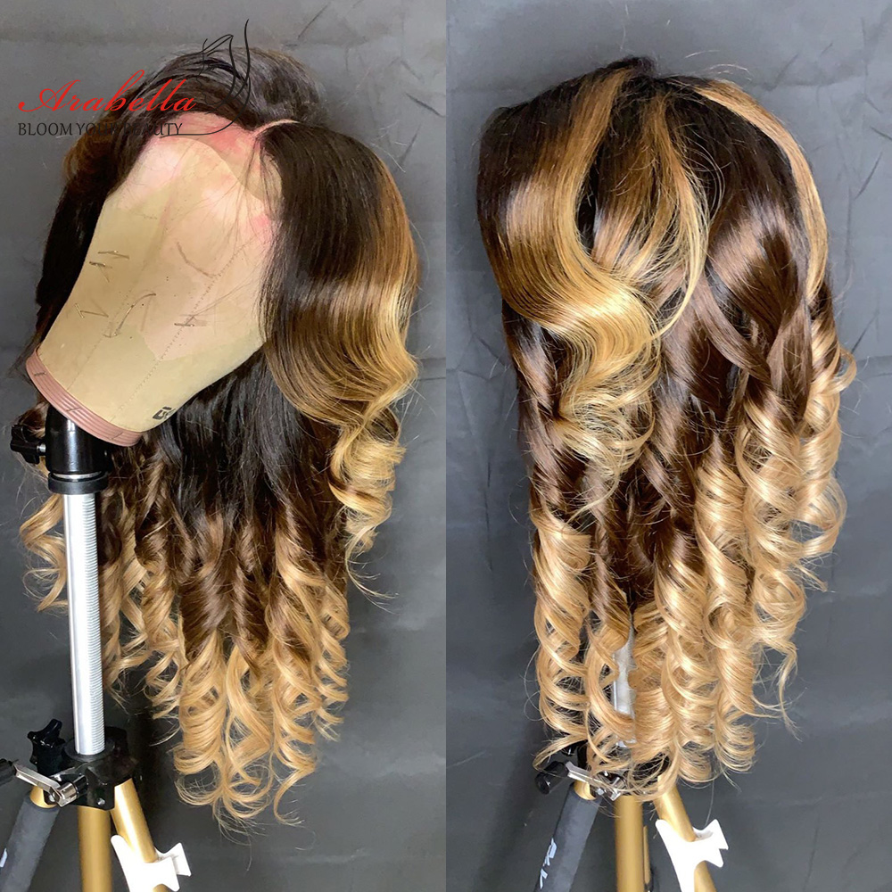 1B/4/27 Ombre   Bundles With Closure Arabella Body Wave 100%  Hair  With Closure Free/Three Parts 6