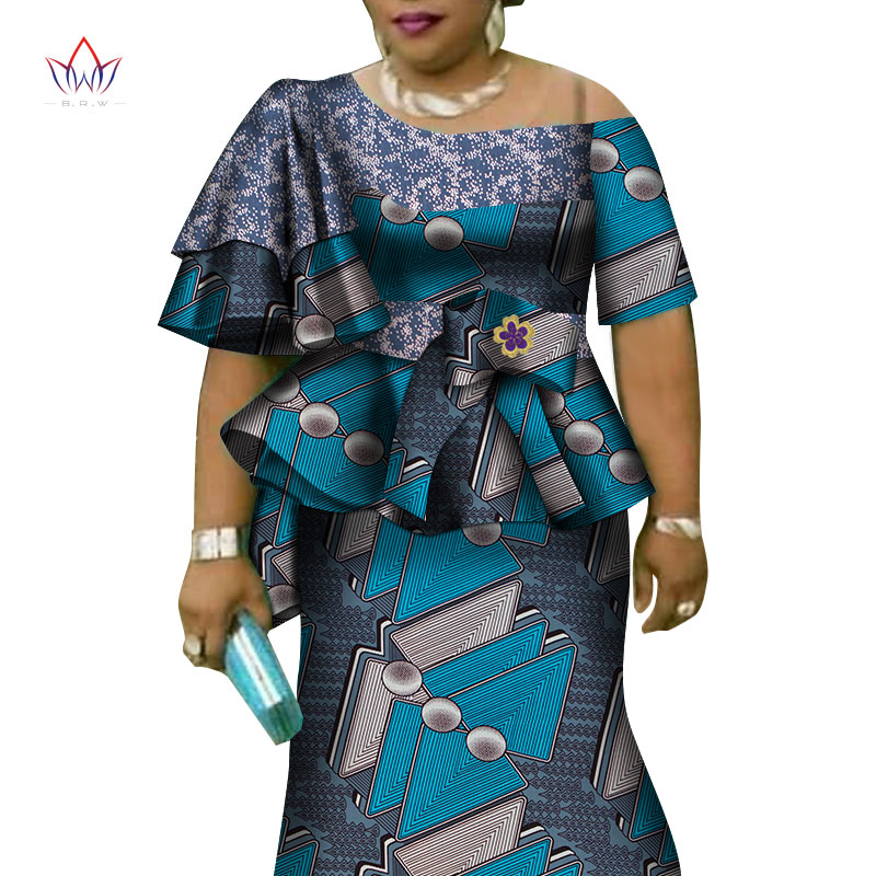 African Ruffles Sleeve Print Tops And Skirt Sets For Women Bazin Riche African Clothing 2 Pieces Customize Skirts Sets WY4392