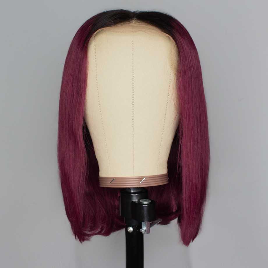 Koronki przodu włosów ludzkich peruk blond krótki prosto HD Ombre 613 burgundii Bob peruka długi brazylijski wstępnie oskubane dla czarnych kobiet Remy