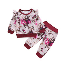 Newborn Clothes Set Baby Girls Tracksuit Long Sleeve Sweatshirt For Pullover Tops Floral Pants Outfits