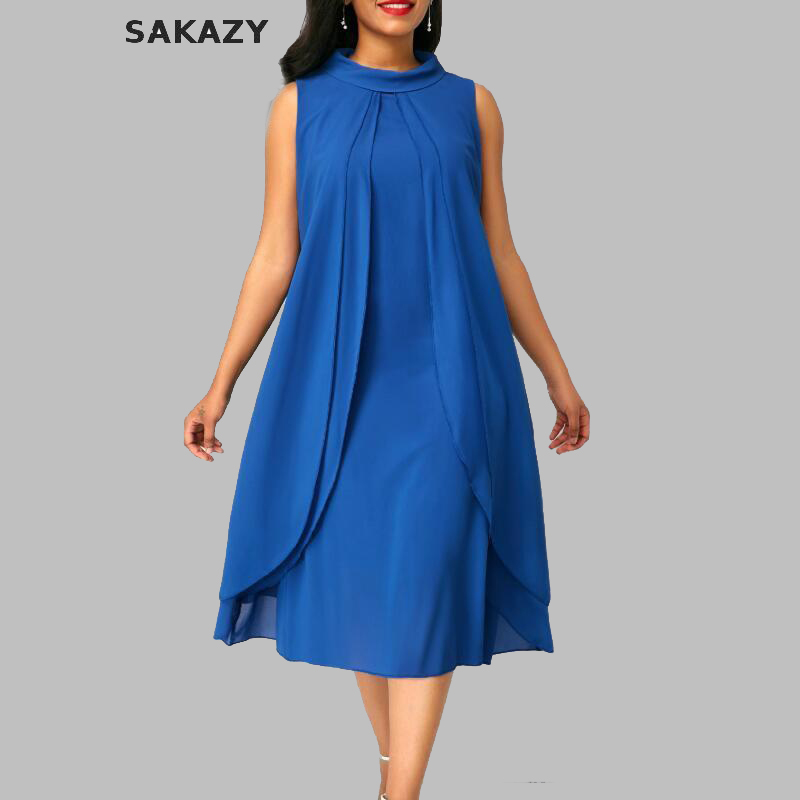 Plus Size 5xl Casual <font><b>Dress</b></font> <font><b>Women</b></font> Summer <font><b>Fashion</b></font> New <font><b>Sexy</b></font> Sleeveless <font><b>Chiffon</b></font> <font><b>Dress</b></font> <font><b>Elegant</b></font> Female Beach Party <font><b>Dresses</b></font> Vestidos image