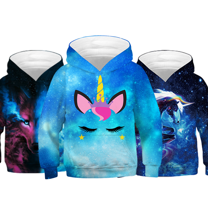 Girl Sweatshirt Hoodie Jacket Pullover Unicorn Spring Cartoon Children Starry Fashion title=