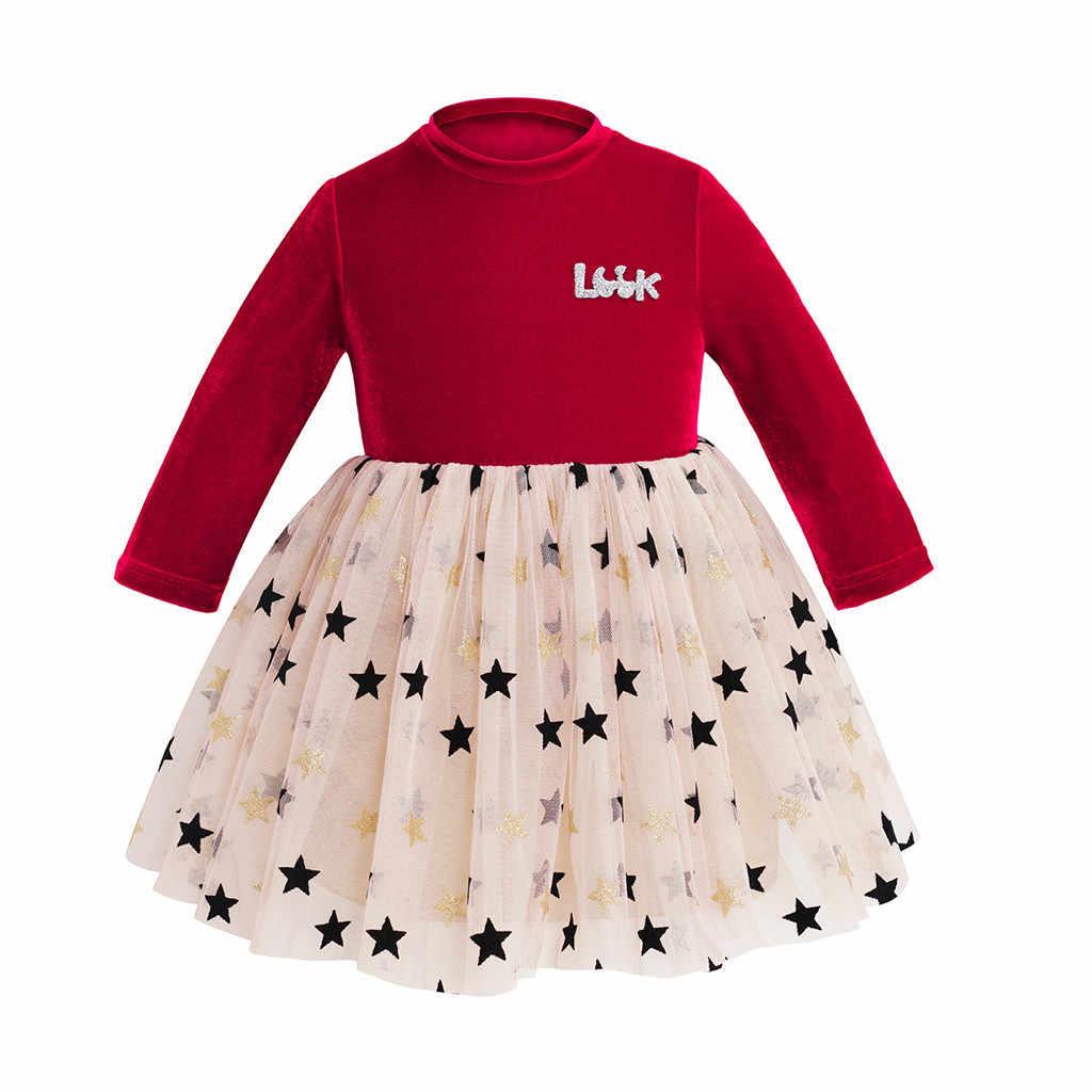 Fashion Girl Party Jurken Mesh Sterren Lange Mouwen Kinderen Prinses Jurk Toevallige Elegante Kids Jurk Baby Kleding