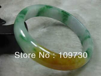 Frete grátis>>>>> 909318 natureza bela verde amarelo jade jadeite pulseira brangle 60mm