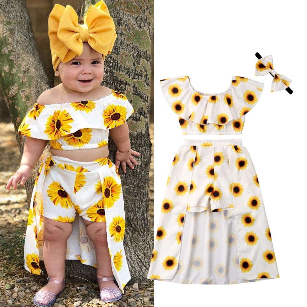 3 Pieces Summer Print Sunflower Toddler Children Clothes Sets Little Baby Girls Ruffle Tops Long Skirted Headband Outfits