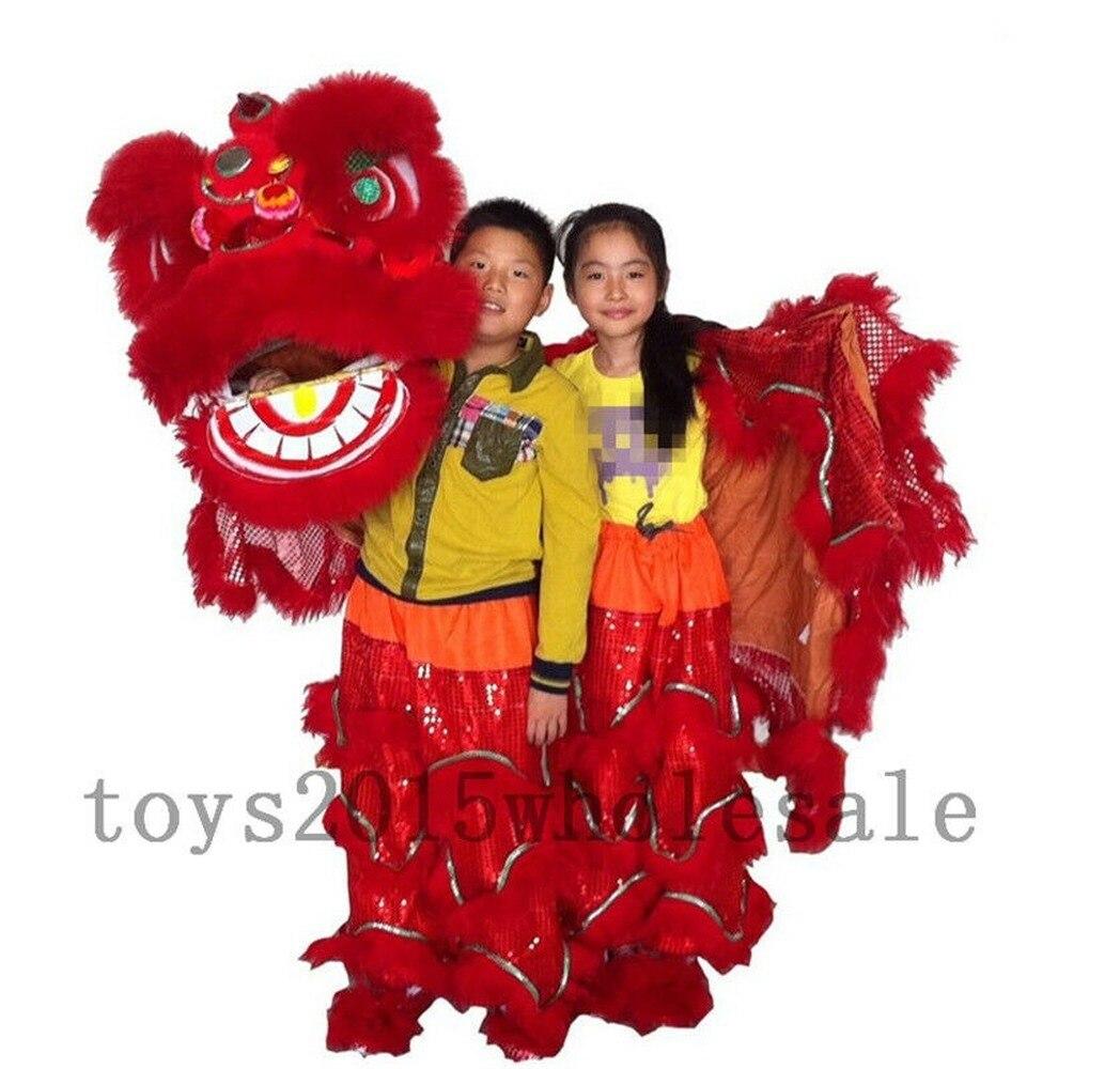 Arte popular chinês leão dança mascote traje lã pura sul leão dança para dois crianças dia das bruxas publicidade desfile fantasia vestido