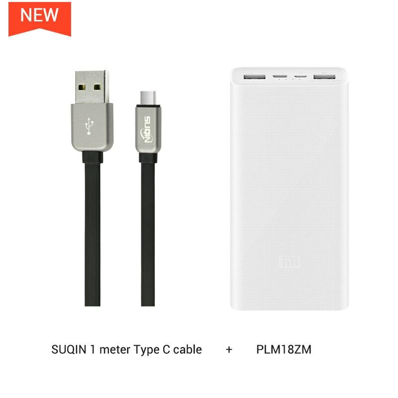 Xiaomi power Bank 3 PLM18ZM 20000 мАч 18 Вт Двусторонняя Быстрая зарядка тип-c микро Входное зарядное устройство для iPhone 11 Pro XR X для samsung - Цвет: w TypeC Cable