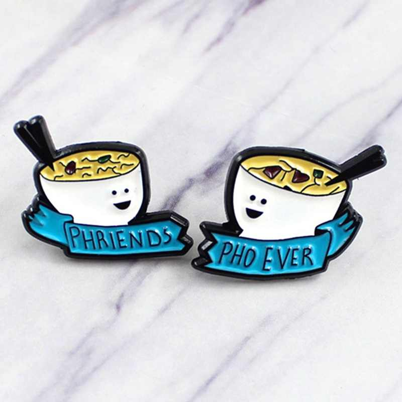 2 Stks/set Vriendschap Noedels Broche Phriends Pho Ooit Banner Lint Japanse Pap Emaille Pin Denim T-shirt Badge Vriend Geschenken