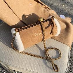 Niche design sac populaire femme automne/hiver 2021 nouvelle mode en peluche agneau cheveux bandoulière tout-match chaîne cylindre sac largeur: 20cm