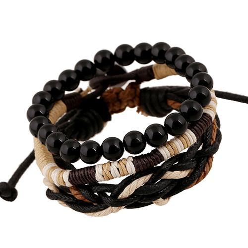 Männer 3 Pcs Punk Stil Holz Perlen Gestrickte Leder Armreif Wachs Seil Manschette Armbänder armband armreif armband armband reif 2020